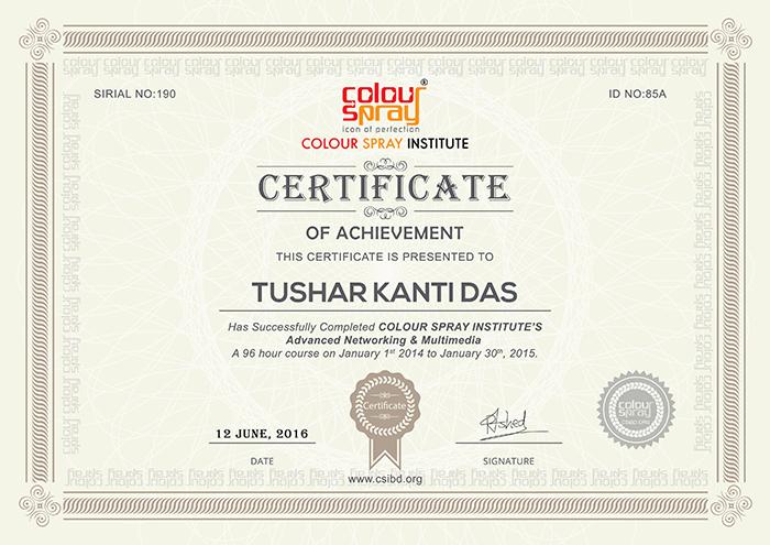 Certificate of Tushar Kanti Das
