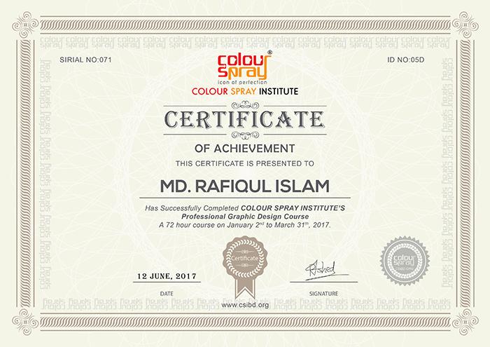 Certificate of Md. Rafiqul Islam