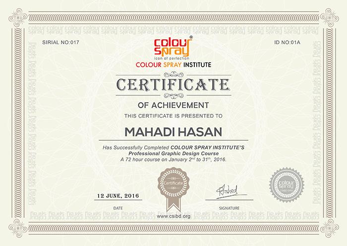 Certificate of Mahadi Hasan
