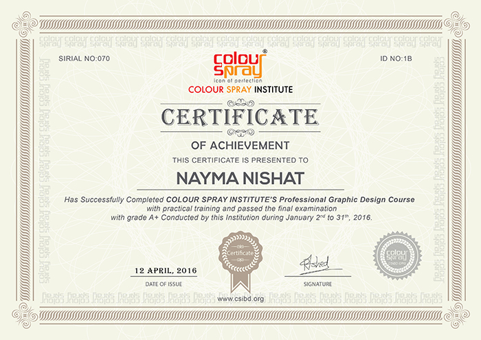 Certificate of Nayma Nishat
