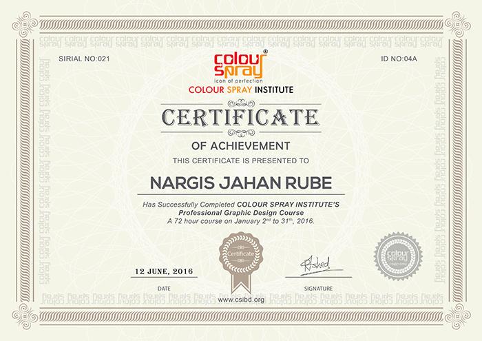 Certificate of Nargis Jahan Rube