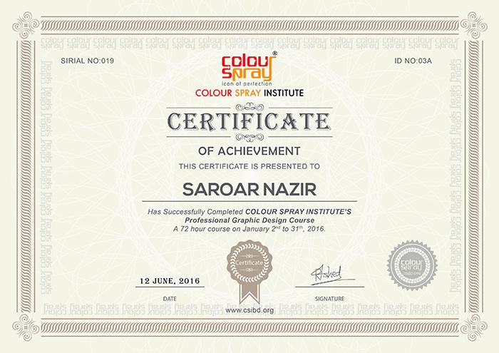 Certificate of Saroar Nazir