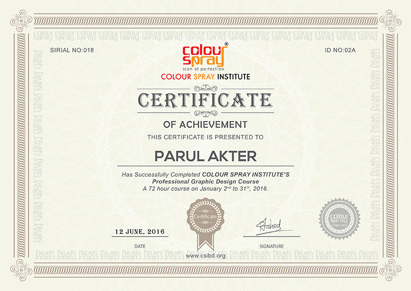 Certificate of Parul Akther